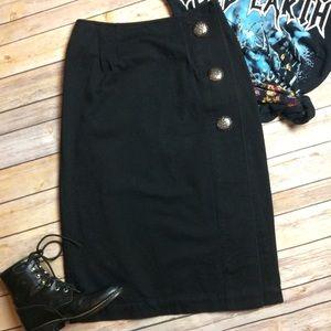 VTG • Black Denim Pencil Skirt